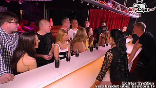 german normal couple at swinger club group sex party