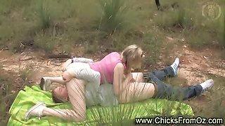 Aussie amateur couple having 69 oral sex outdoors