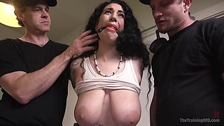 Submissive girl Arabelle Raphael wants to be punished by her friends