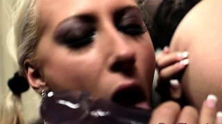 Glamour lesbian dominates with analtoy