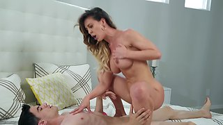 Housewife interrupts doing chores to have crazy sex with stepson