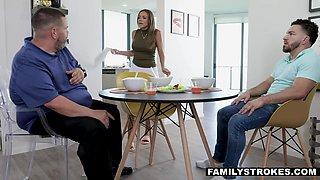 Charming young stepmom Havana Bleu seduces stepson Peter Green under husband's nose