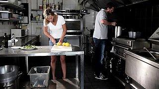 Euro babe anally creamed in restaurant kitchen