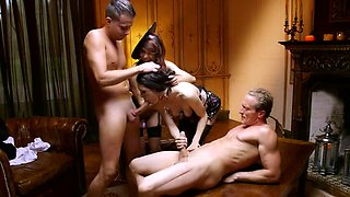 Obedient babes cock swapping and enjoying foursome sex