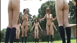Naked in school in Japanese students have outdoor gym class