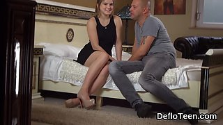 Beautiful smile Anka proves her virginity before defloration