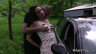 This sex crazed bitch deserves that kind of treatment