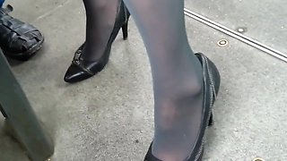 Candid sexy high heels pantyose in bus stop 3