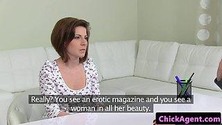 Innocent european lez fingerfucking agent at interview