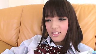 Rin Yuzuki  in a school uniform shows off her shaved twat