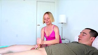 Petite blonde Alyssa Hart is caught by her mom, Payton