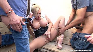 Members smoking gang grope wank pantyhose cumshot with blonde big tits slut Michelle Thorne